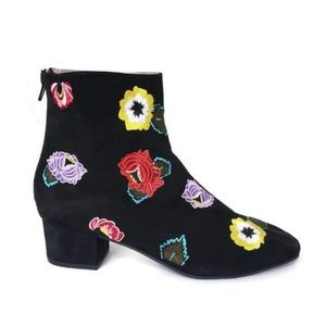 Betsey Johnson Twiggy Floral Embroidered Booties